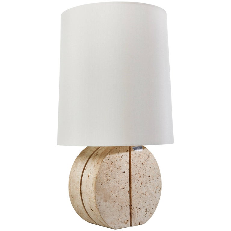 Italian Travertine Table Lamp For Sale