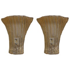 Pair of Gold Dust Murano Sconces
