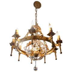 Spanish 1930s Round Gilt Iron and Glass Chandelier with 12 Lights