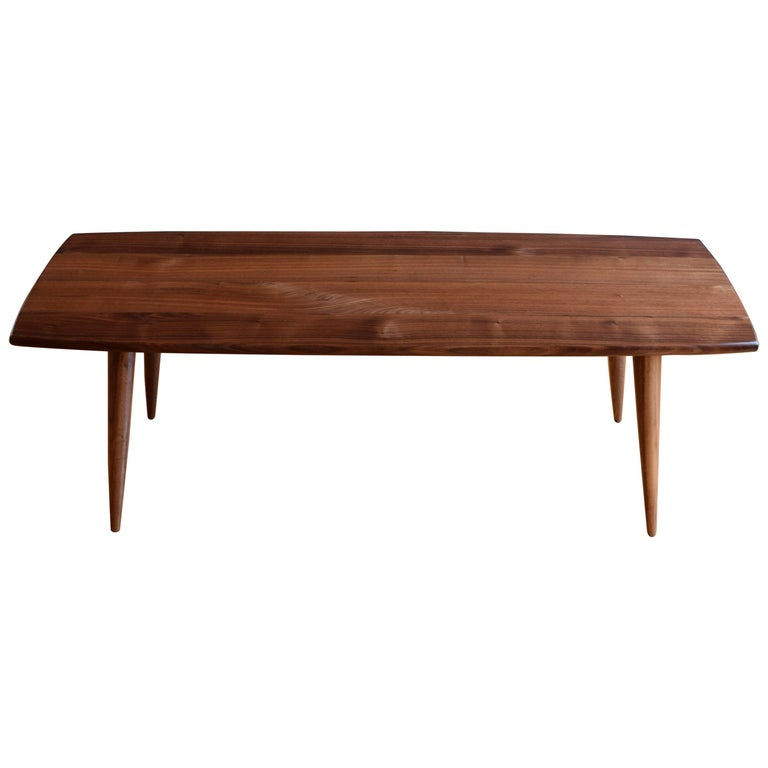 Modern Coffee Table in Black Walnut with Oil and Wax Finish For Sale