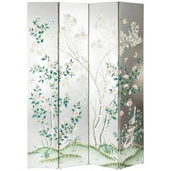 Silver Four-Panel Chinese Screen by Gracie