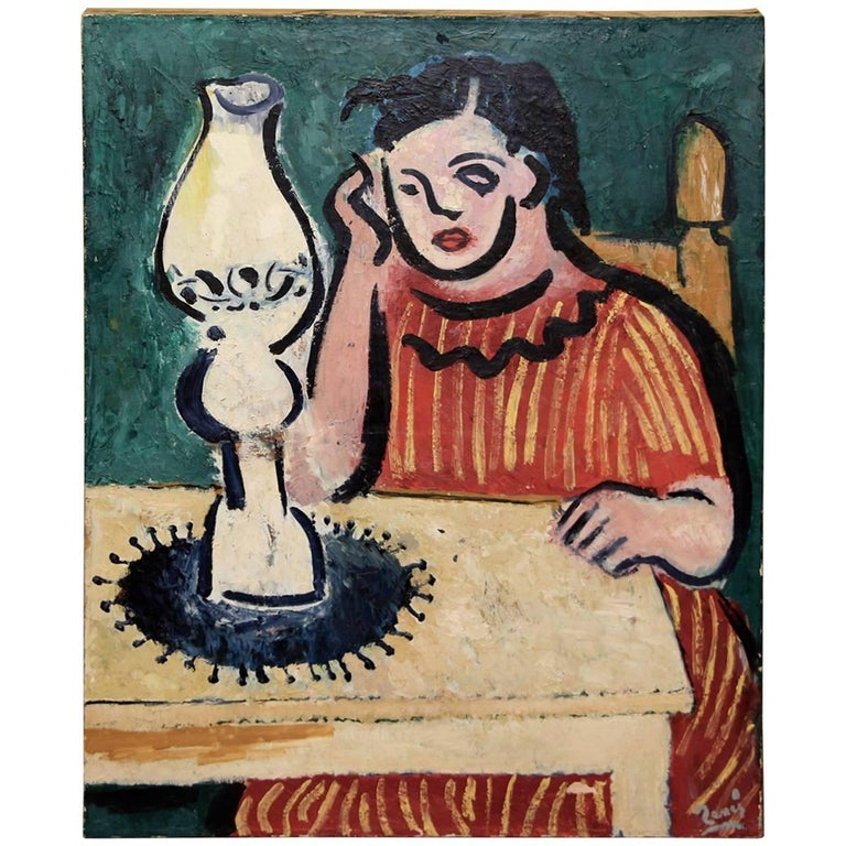 Older Interesting Painting Signed Illegibly in the Style of Matisse For Sale