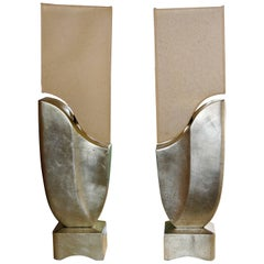 Pair of Unusual Lamps with Great Shades