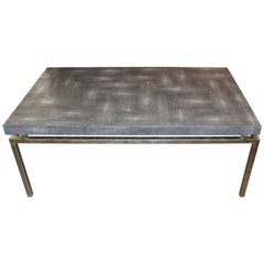 Faux Shagreen and Metal Coffee Table