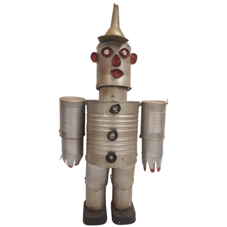 Mid-20th Century Folk Art Figure of the Tin Man from the Wizard of Oz For Sale