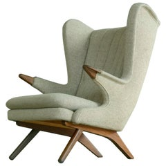 Hans Wegner Papa Bear Style Lounge Chair Model 91 by Sven Skipper 1960's