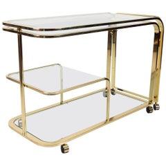 Milo Baughman Design for DIA Brass Bar Serving Cart