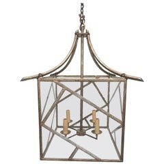 Faux Bois Twig Brass and Mineral Glass Pagoda Cathedral Chandelier