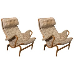 Pair of Pernilla Lounge Chairs in Beech by Bruno Mathsson for DUX