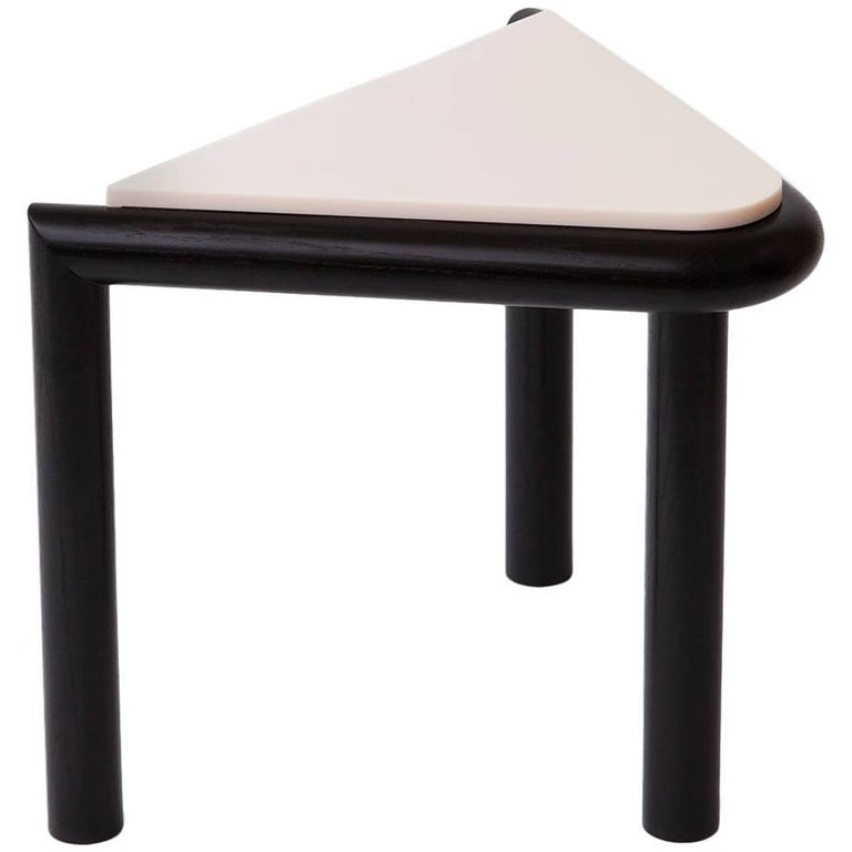 Troika Stool or Side Table in Ash and Corian 'Peach' by Vonnegut Kraft For Sale