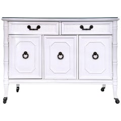 Hollywood Regency White Lacquer and Brass Rolling Bar Cart by Broyhill