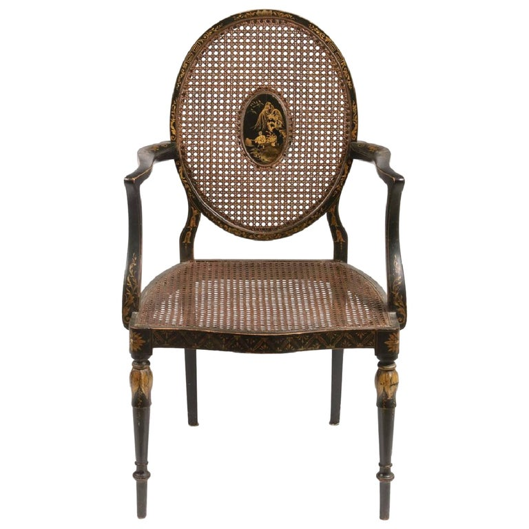 19th Century English Chinoiserie Armchair For Sale