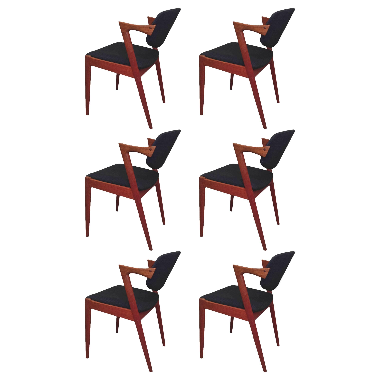 1960s Kai Kristiansen Set of Six Dining Chairs in Teak - Inc. Reupholstery