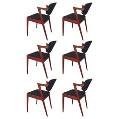 1960s Kai Kristiansen Set of Six Model 42 Dining Chairs in Teak