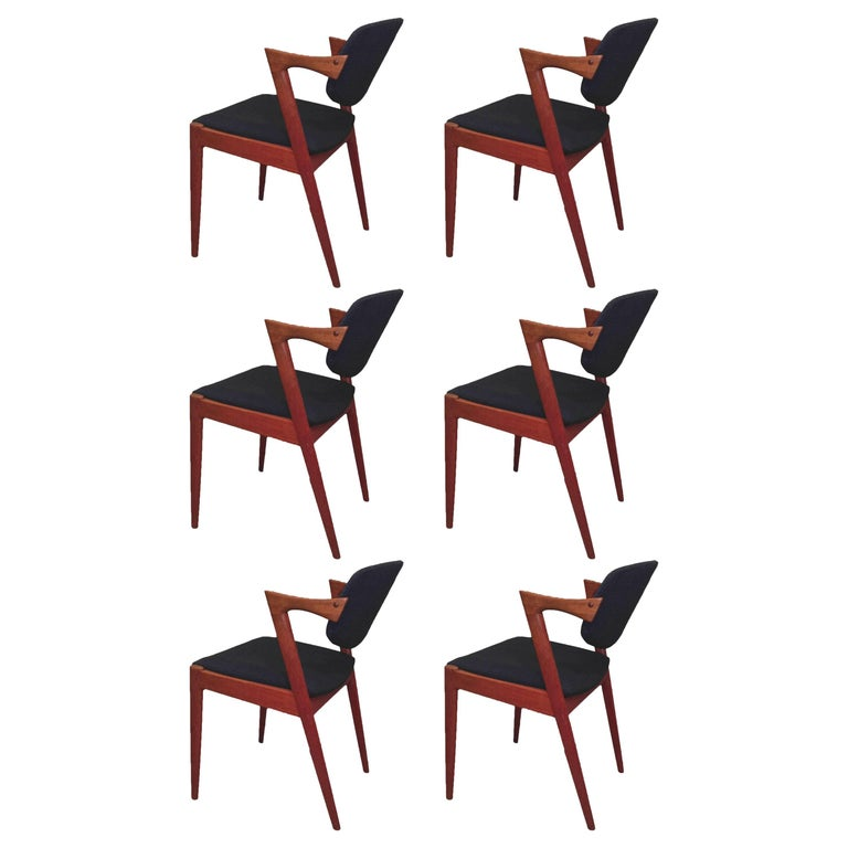 1960s Kai Kristiansen Set of Six Dining Chairs in Teak - Inc. Reupholstery For Sale