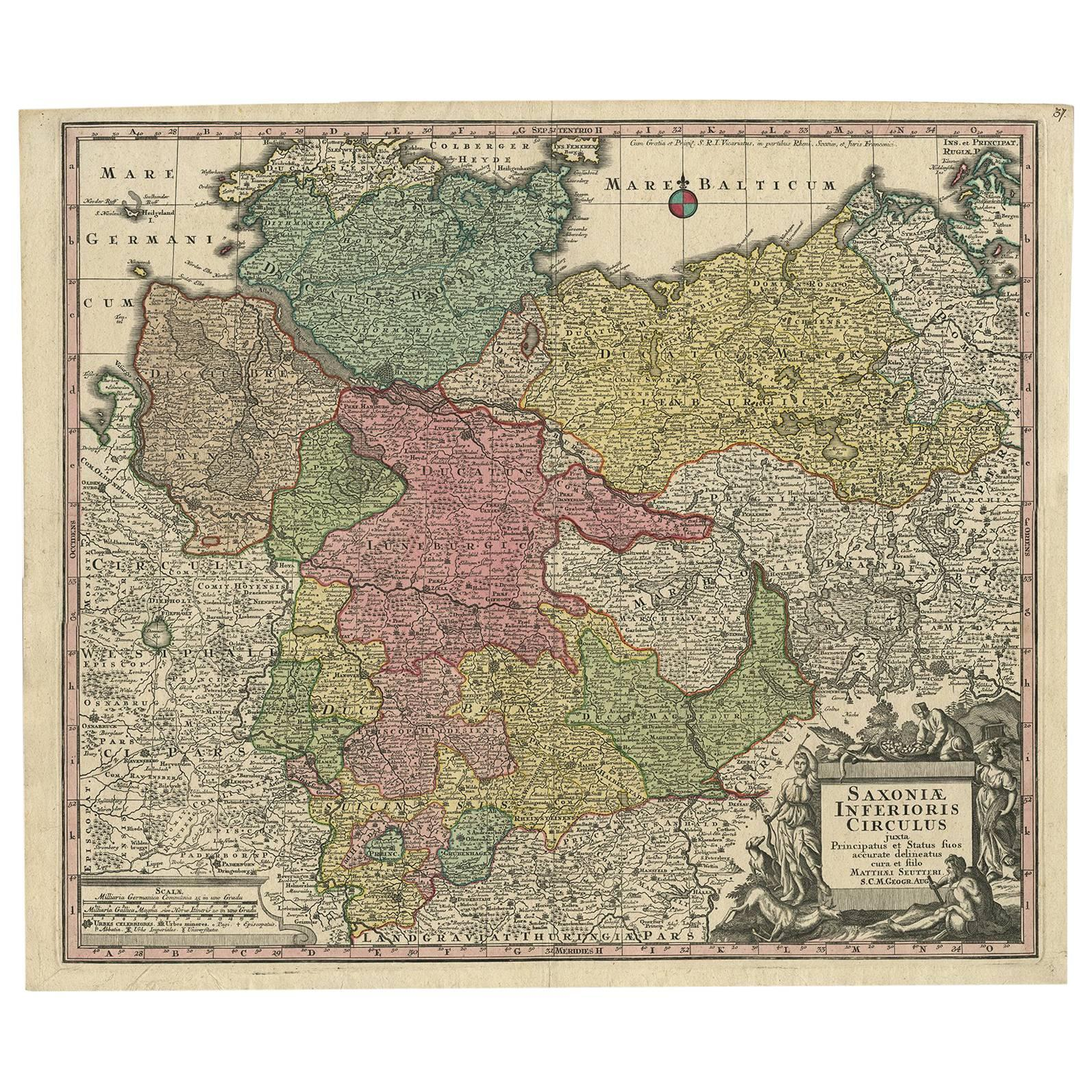 Antique Map of Northern Germany by M Seutter circa 1730 For Sale