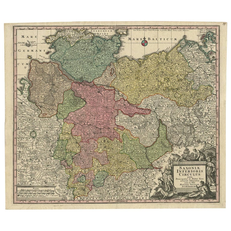 Map Of Germany For Sale.Antique Map Of Northern Germany By M Seutter Circa 1730