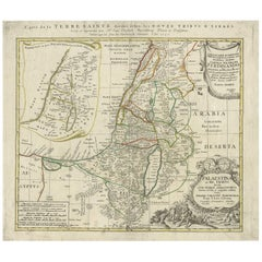 Antique Map of Palestine 'Holy Land' by J.B. Homann, circa 1750