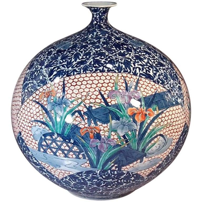 Large Japanese Hand-Painted Imari Decorative Porcelain Vase by Master Artist For Sale
