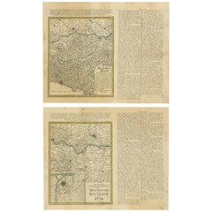 Set of Two Antique Maps of Northern Italy by Homann Heirs, 1754