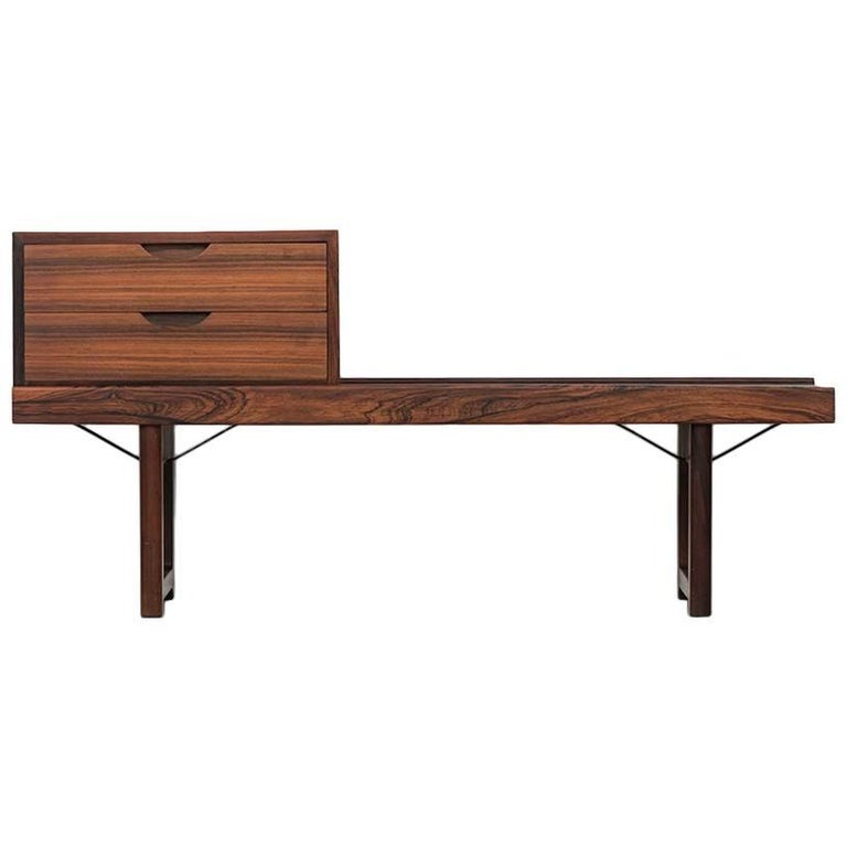 Torbjørn Afdal Krobo Bench / Side Table with Drawer by Bruksbo in Norway