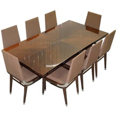 Kesterport American Walnut Extending Dining Table and Eight Chairs Seats 14
