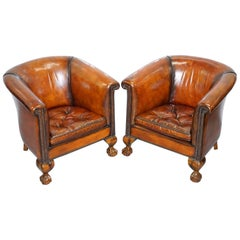 Pair of Victorian Thomas Chippendale Style Restored Tub Armchairs Claw and Ball