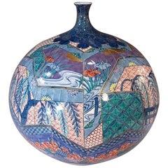 Large Japanese Contemporary Imari Decorative Porcelain Vase by Master Artist