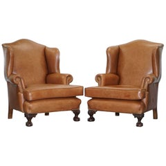 Pair of Restored Brown Leather circa 1860 Wingback Armchairs Claw and Ball Feet