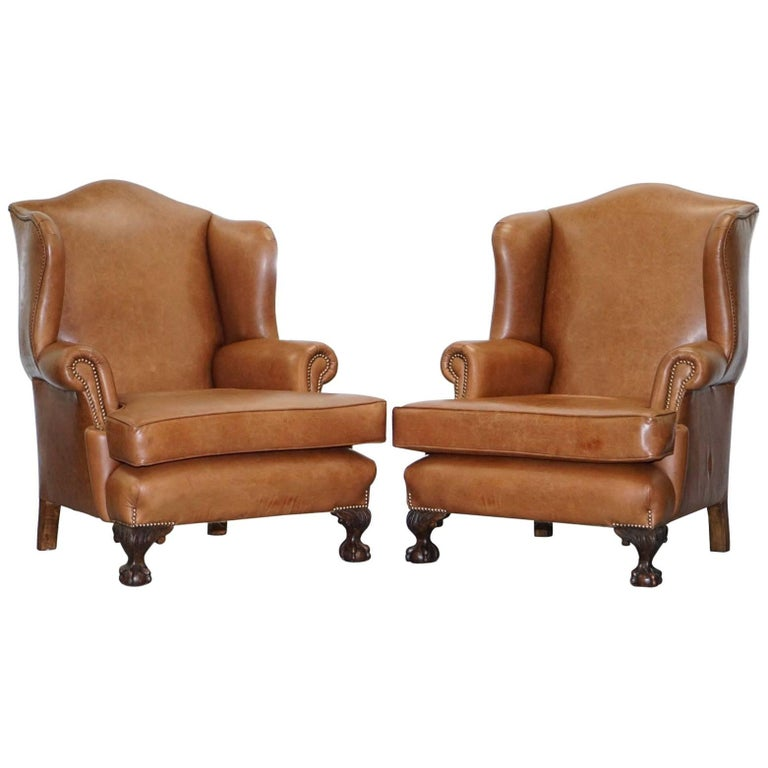 pair of restored brown leather circa 1860 wingback. Black Bedroom Furniture Sets. Home Design Ideas