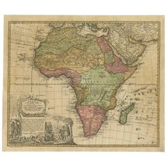 Antique Map of Africa by Homann Heirs, circa 1737