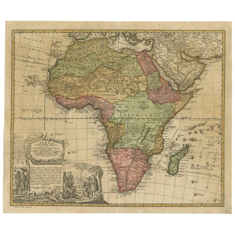 antique map of africa by homann heirs circa 1737 for sale at 1stdibs