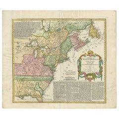 Antique Map of the British Colonies in North America by Homann Heirs, 1756