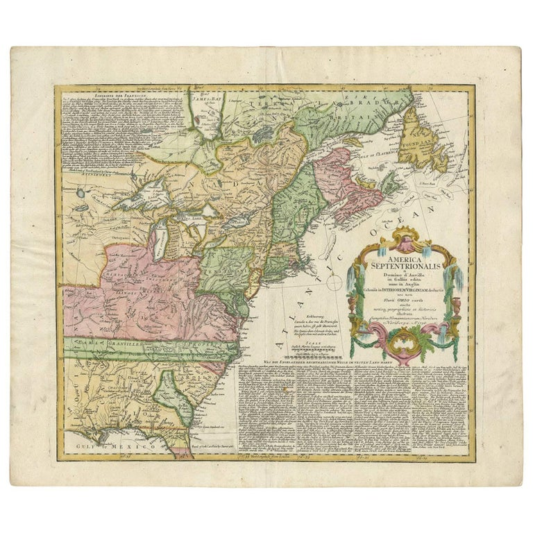 Antique Map Of North America.Antique Map Of The British Colonies In North America By Homann Heirs