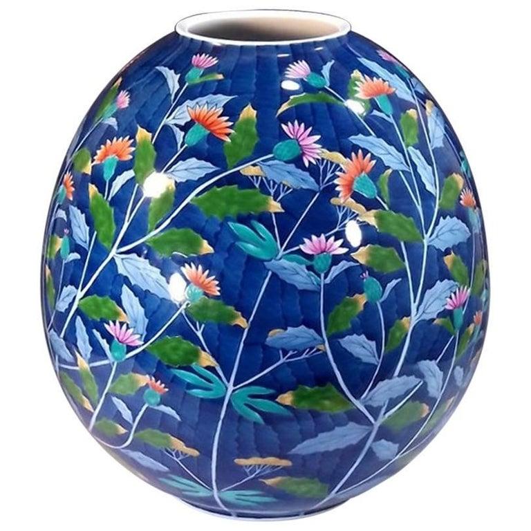 Japanese Blue Ovoid Hand-Painted Porcelain Vase by Master Artist