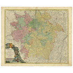 Antique Map of the Lorraine 'North-East France' by J. B. Homann, circa 1720