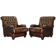Restored Chesterfield Hand Dyed Cigar Brown Leather Scroll Back Armchairs, Pair