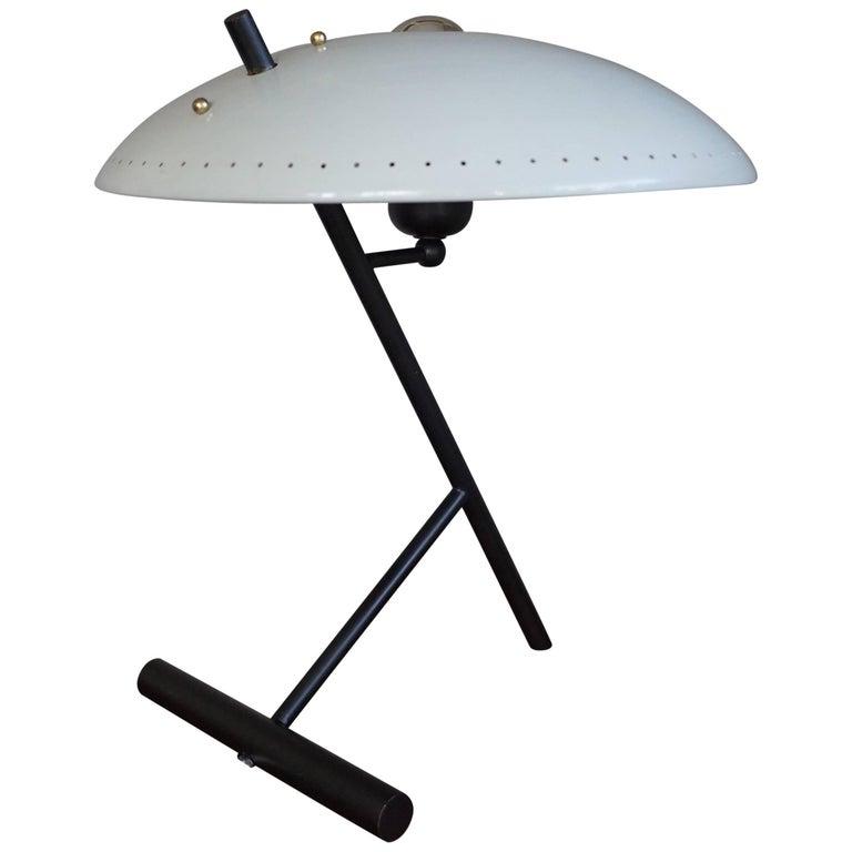 Louis Kalff Midcentury Design Table Desk Lamp Black Base and Grey Shade