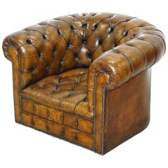 Rare 1930s Made in England Restored Fully Buttoned Chesterfield Club Armchair