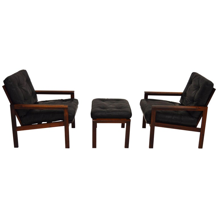 Pair of Illum Wikkelsø Capella Easy Chairs and Stool in Rosewood and Leather