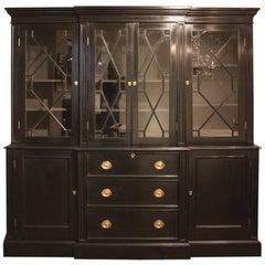 19th Century Ebonized Breakfront Bookcase