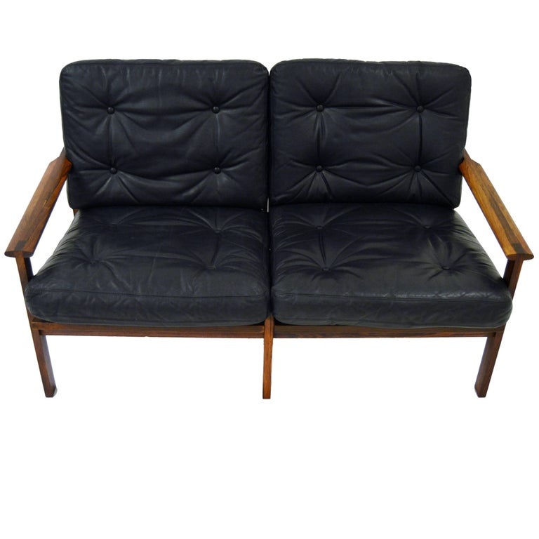 Two-Seat Sofa by Illum Wikkelsø Capella for Niels Eilersen in Rosewood