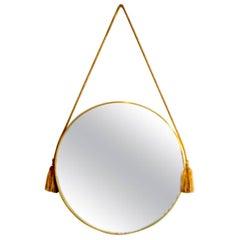 Circular Italian Midcentury Brass Mirror
