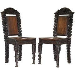 Rare Pair of Anglo-Indian Elephant Chairs, Highly Carved with Birds Flowers Etc
