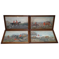Set of Four Early Victorian Hunting Prints Hand Colored English Oak Frames