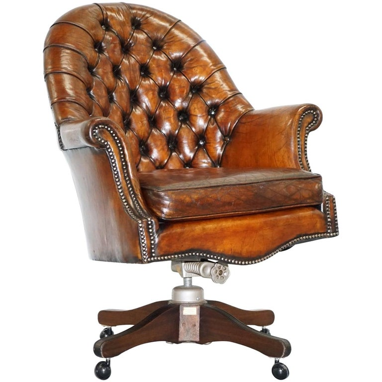 Restored 1940 Hillcrest Chesterfield Antique Whisky Brown Leather Captains  Chair 1 - Restored 1940 Hillcrest Chesterfield Antique Whisky Brown Leather