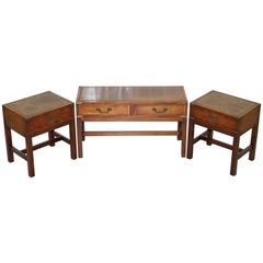 Pair of Harrods London Kennedy Furniture Campaign Side and Coffee Tables