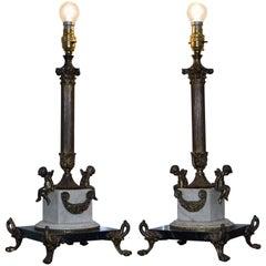 Pair of Antique French Bronze Corinthian Pillar, Cherubs Marble Base Table Lamps