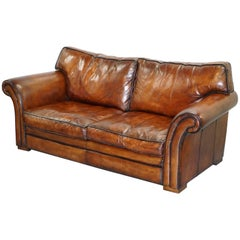 Restored Hand Dyed Whisky Brown Leather Three-Seat Sofa