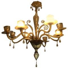 Zecchin Cappellin Venini Pagliesco Art Deco Eight-Light Murano Chandelier